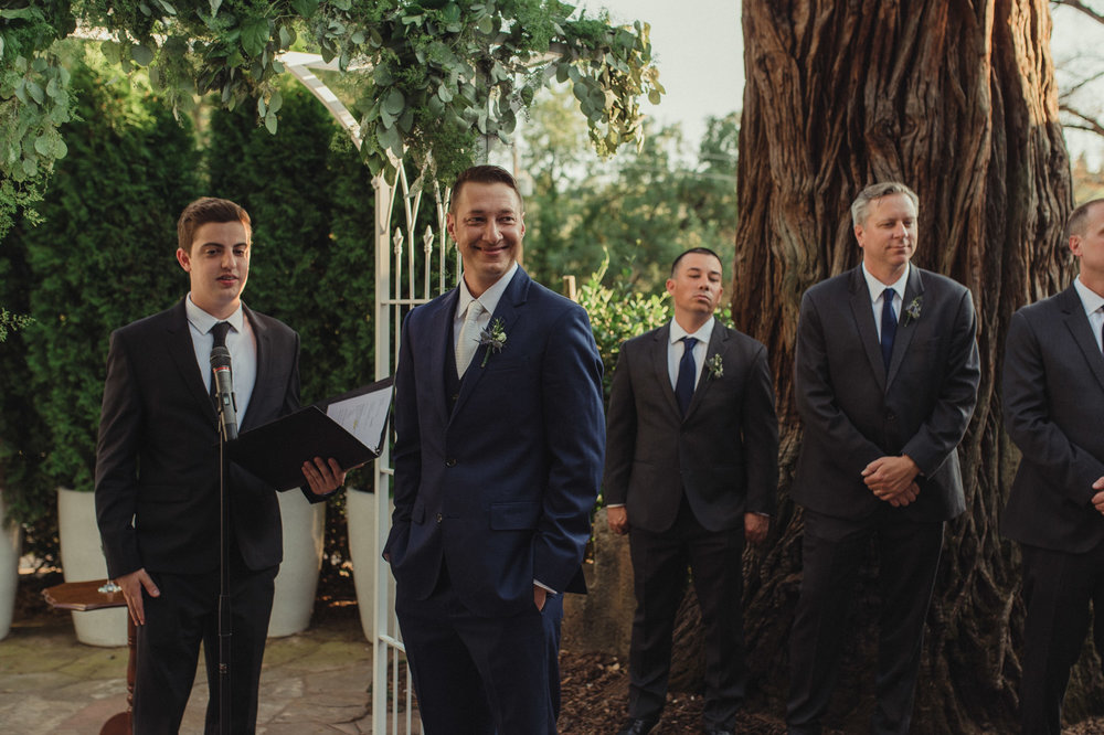 Wedgewood Sequoia Mansion wedding grooms first look photo