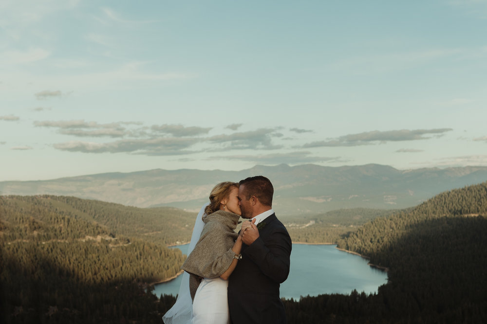 Donner Lake elopement first kiss photo