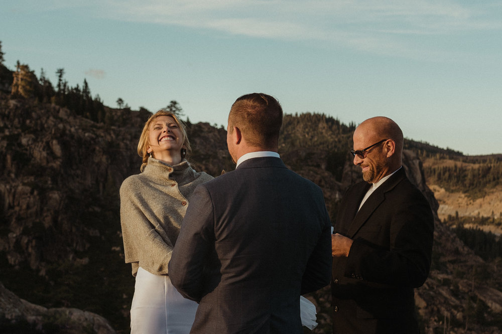 North Lake Tahoe wedding bride laughing photo