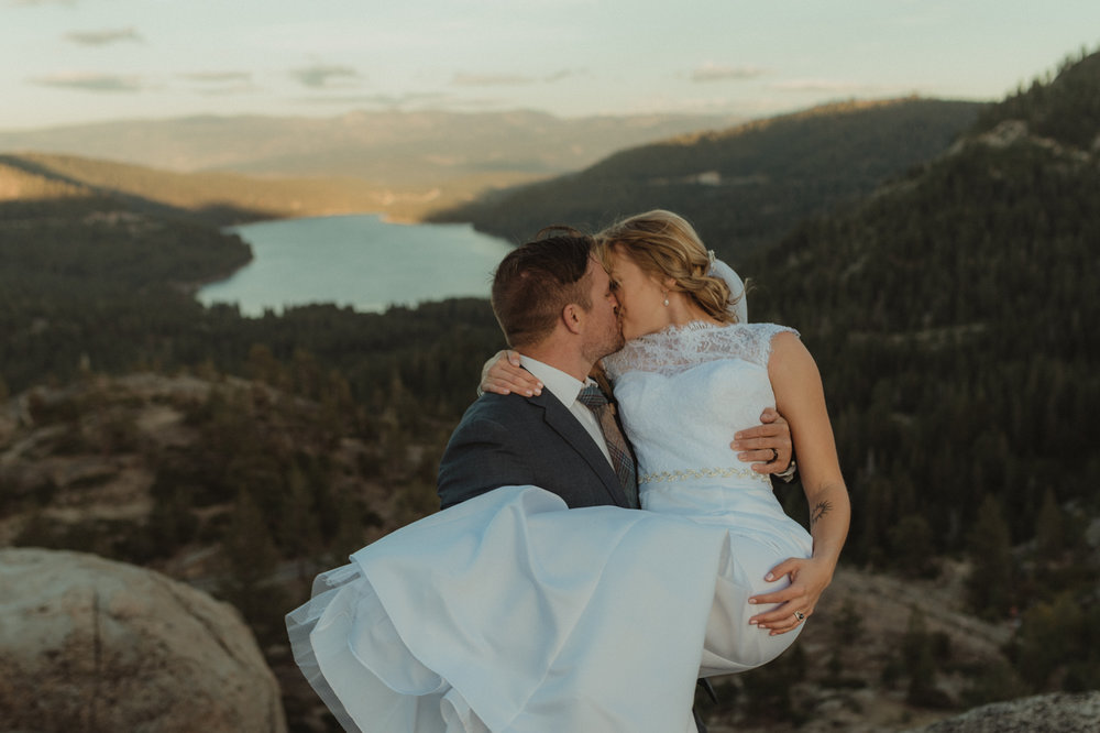 North Lake Tahoe wedding groom picking up bride photo