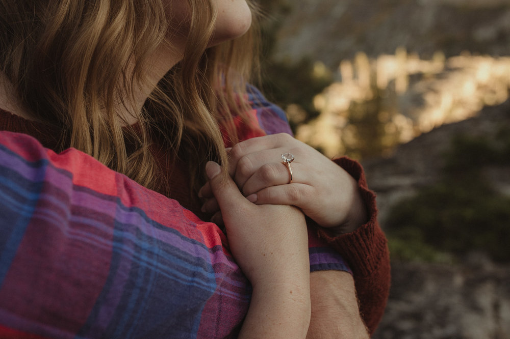 Donner Pass engagement session ring photo