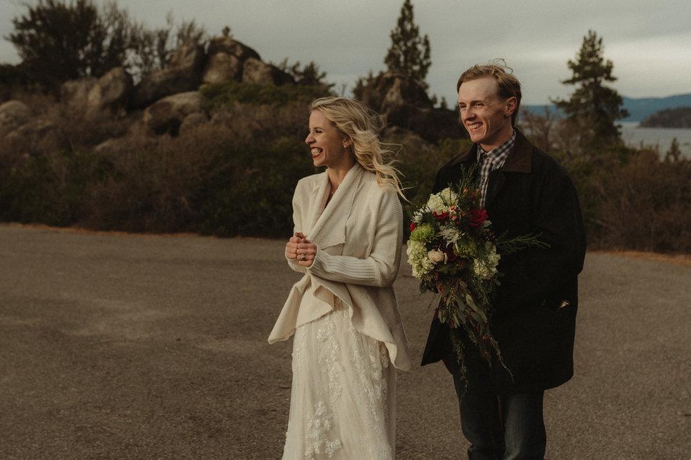 Lake Tahoe Wedding photographer couple laughing candidly photo