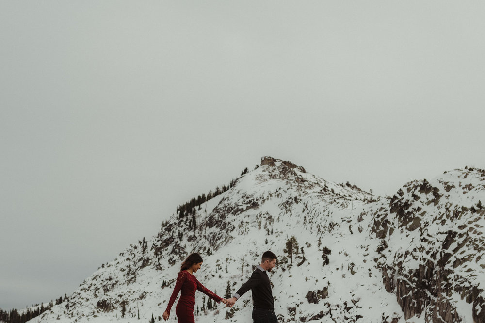 Donner Pass engagement photos taken by a Lake Tahoe wedding photographer
