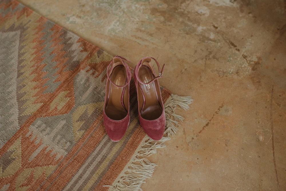 At home Reno wedding bridal shoes photo