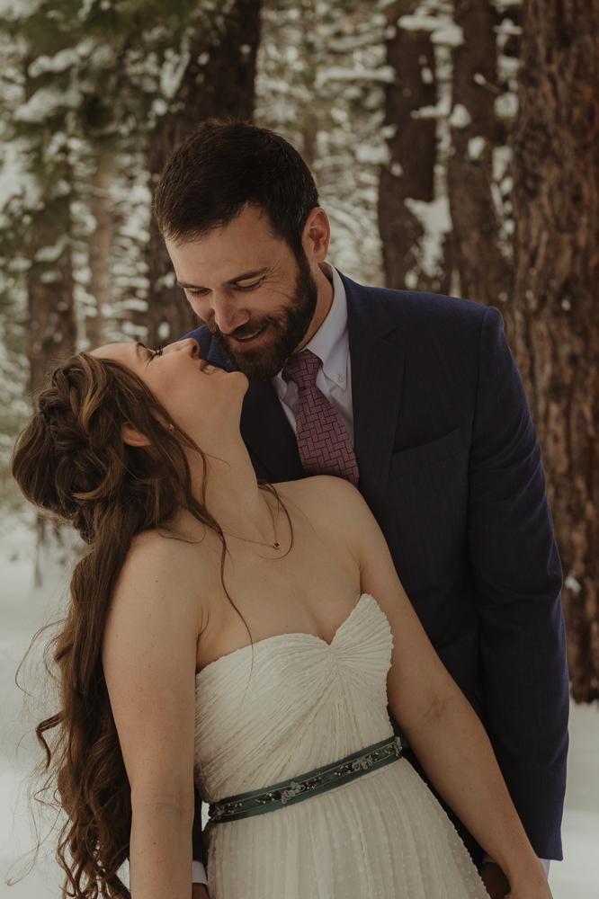 Lake Tahoe winter wedding inspiration photo