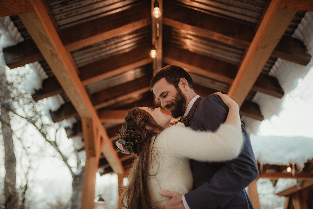 At home Reno wedding couple kissing photo