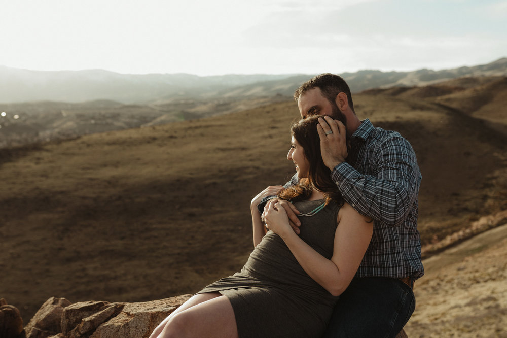 Desert maternity session couple photo