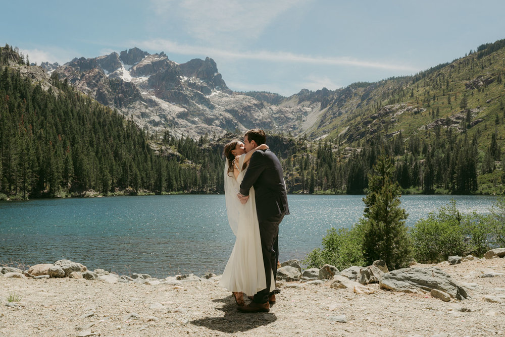 Sierra Buttes elopement, first kiss photo