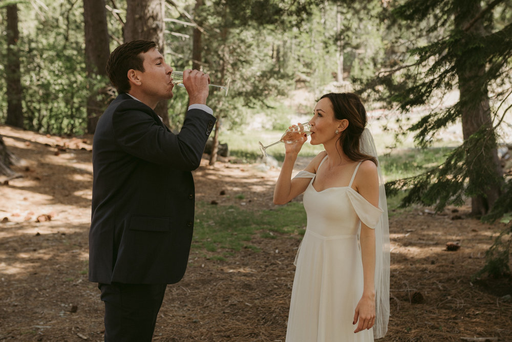 Sardine Lake Resort, Sierra Buttes elopement, couple drinking photo
