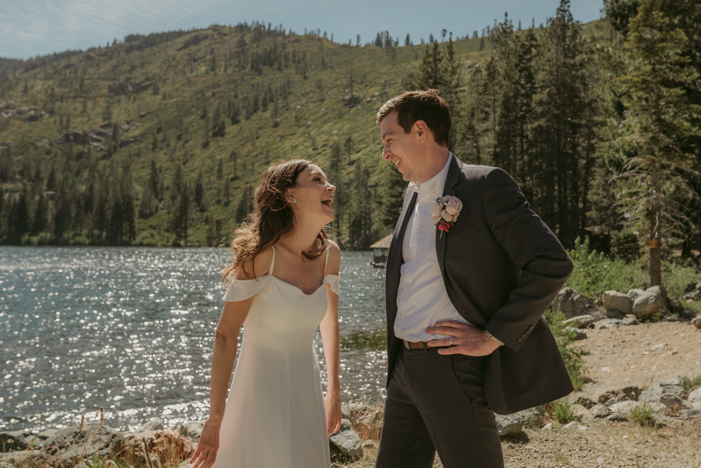 Sardine Lake Resort, Sierra Buttes elopement, couple laughing photo