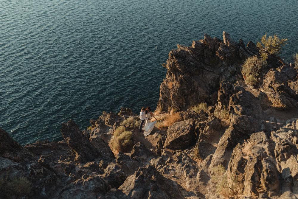 Cave Rock engagement photo inspiration, wide angle shot of lake tahoe photo