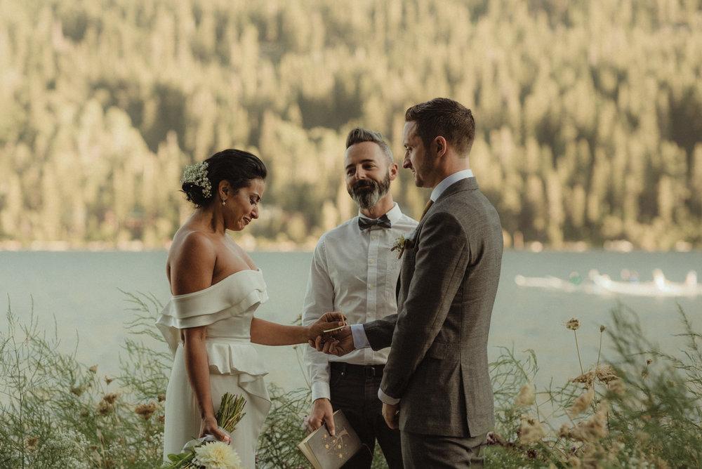 Lake Tahoe pop-up wedding/elopement bride tearing up photo