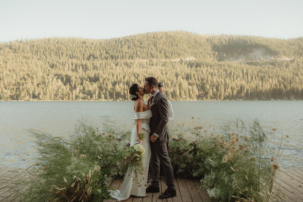 Lake Tahoe pop-up wedding/elopement couple kissing during the ceremony photo