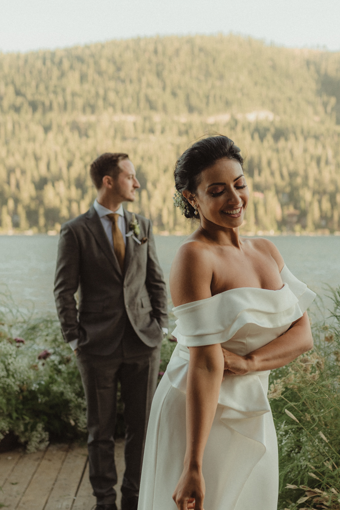 Lake Tahoe pop-up wedding/elopement couple on a dock photo