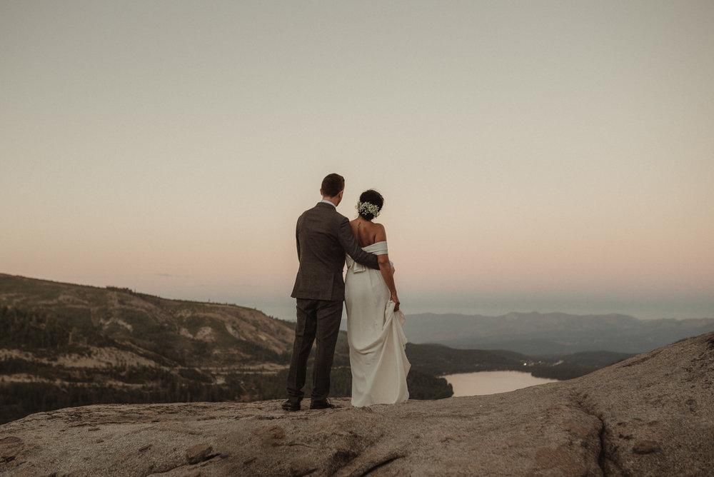 Lake Tahoe pop-up wedding/elopement couple enjoying the last light of sunset photo