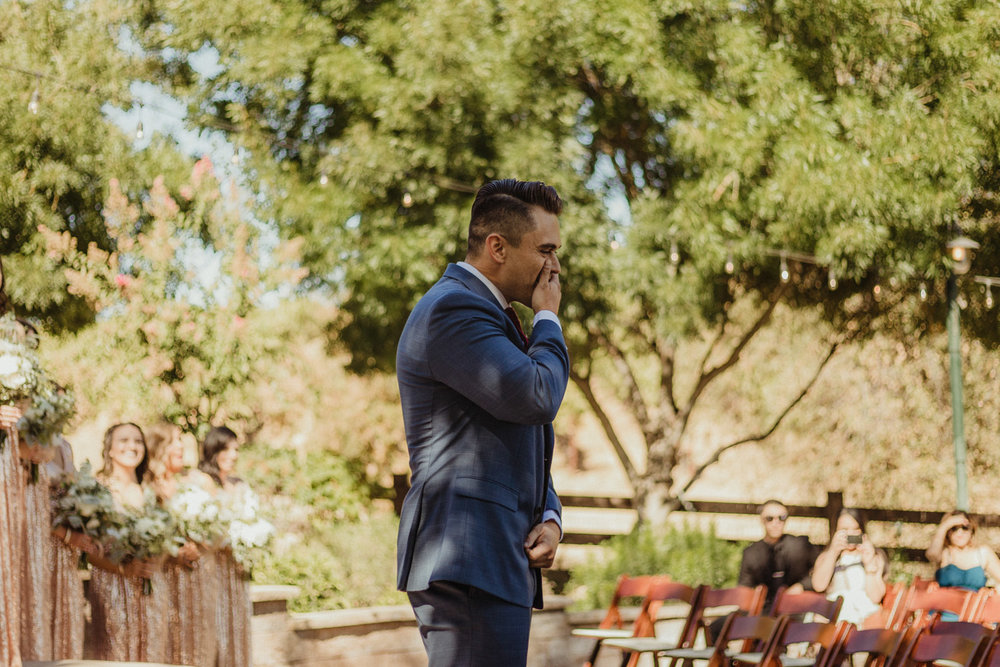 Ranch victoria vineyards wedding first look photo