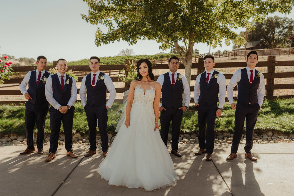 Ranch Victoria vineyard wedding bride with the guys photo
