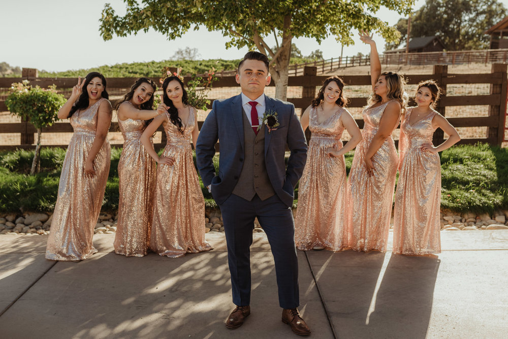Ranch Victoria vineyard wedding groom with the girls photo