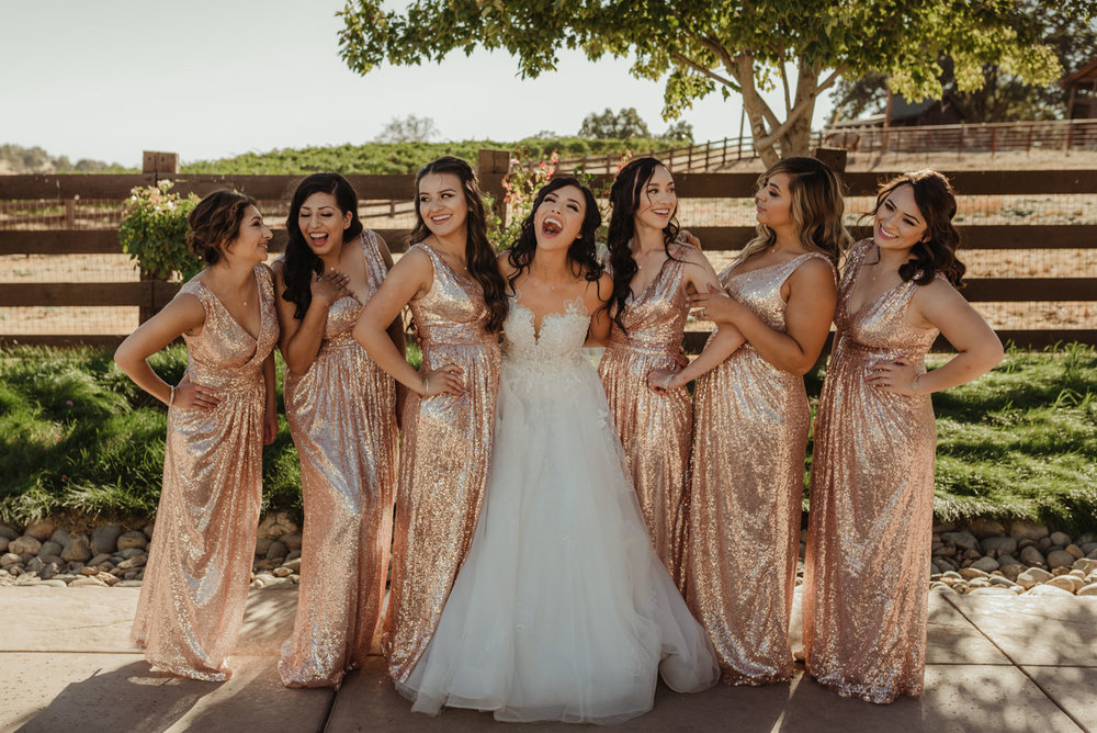 Ranch Victoria vineyard wedding bridesmaids photo