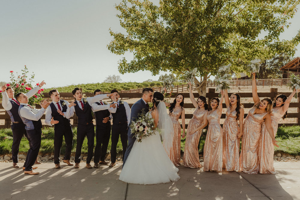 Ranch Victoria vineyard wedding bridal party photo