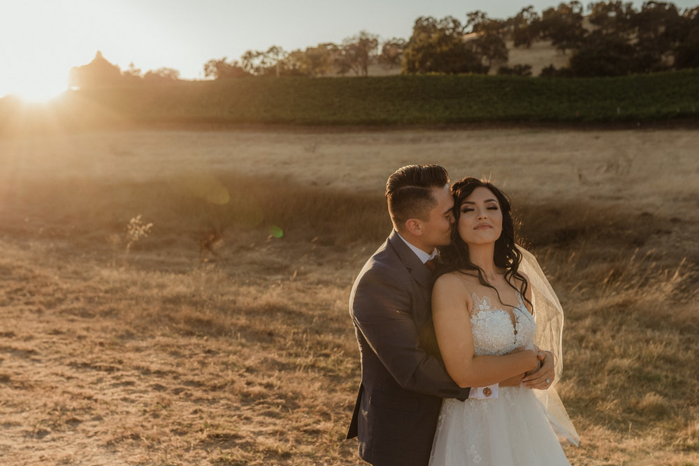 Ranch Victoria vineyard wedding golden hour wedding photo
