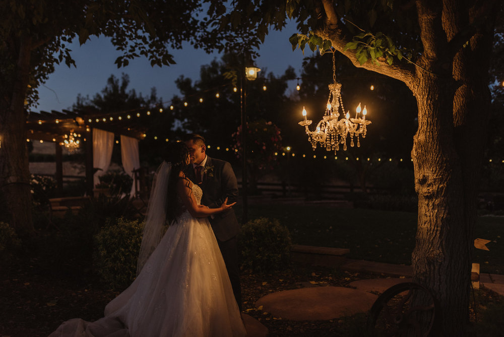 Ranch Victoria vineyard wedding night photo