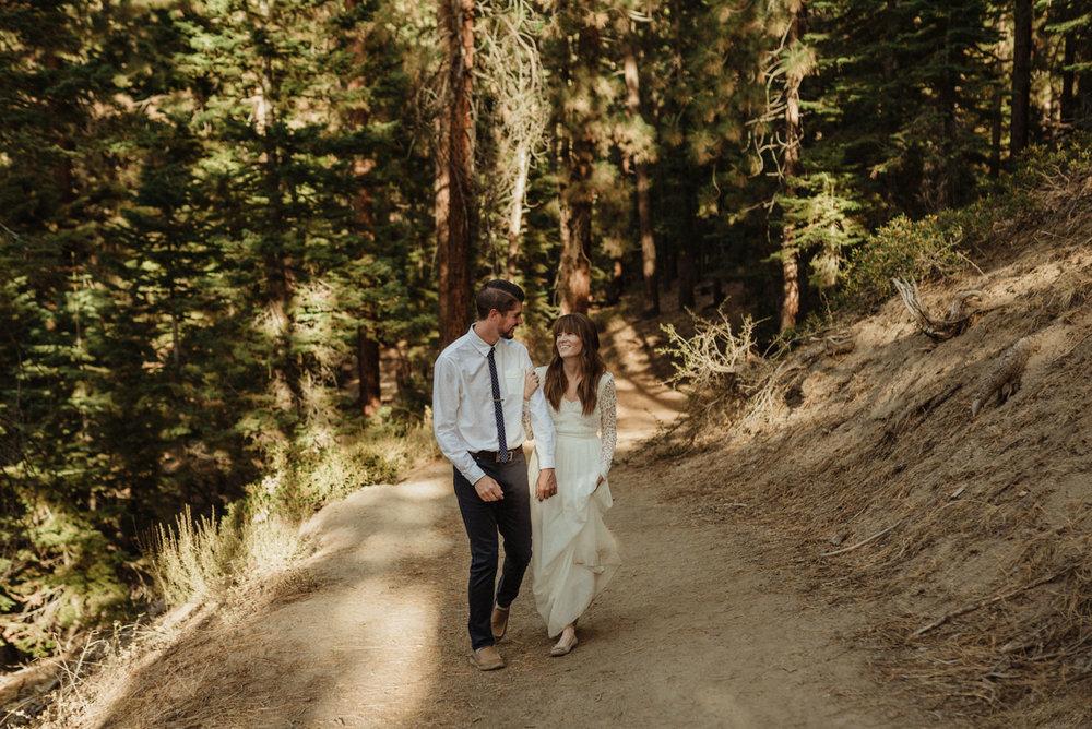 Lake Tahoe vow renewal couple walking on a trail photo
