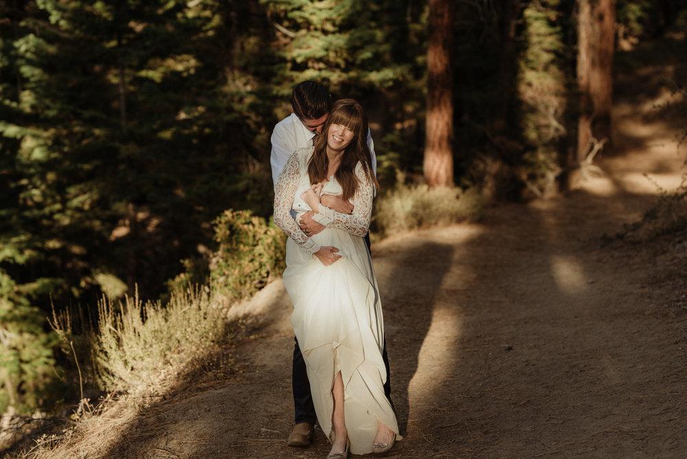 Lake Tahoe vow renewal couple hugging photo
