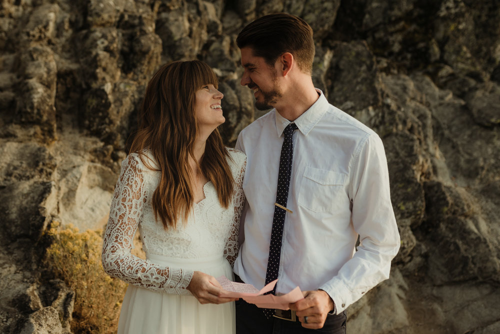 Lake Tahoe vow renewal couple sharing letters photo