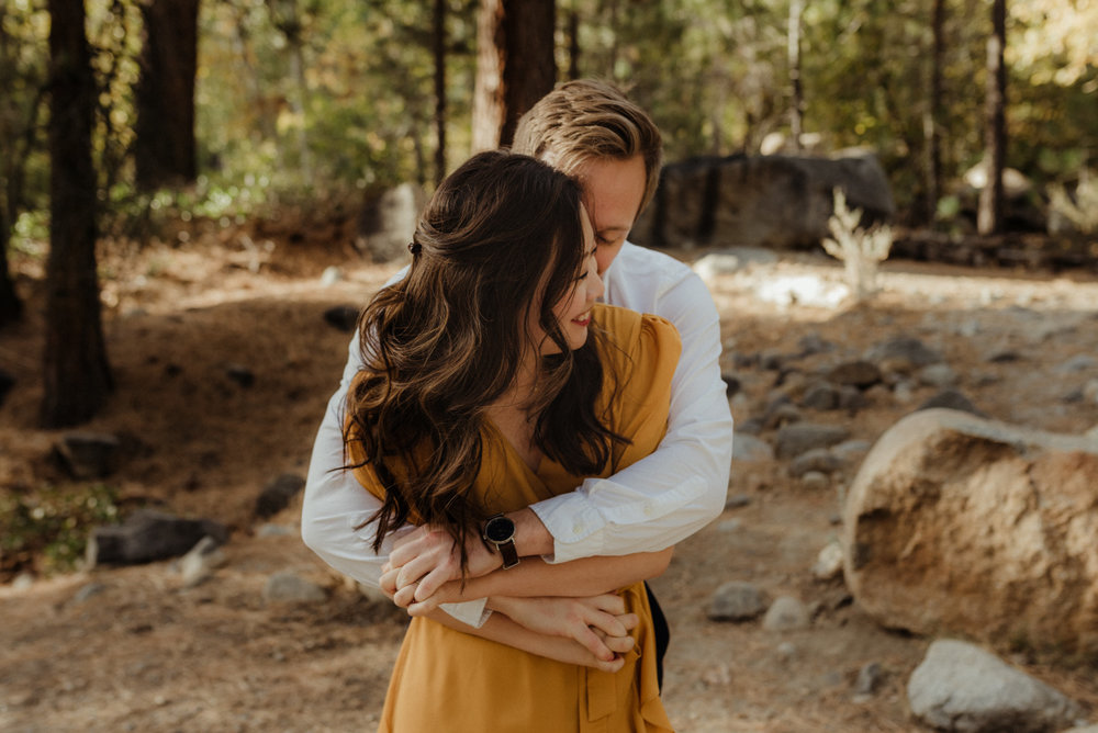 Galena Creek fall engagement session couple hugging photo