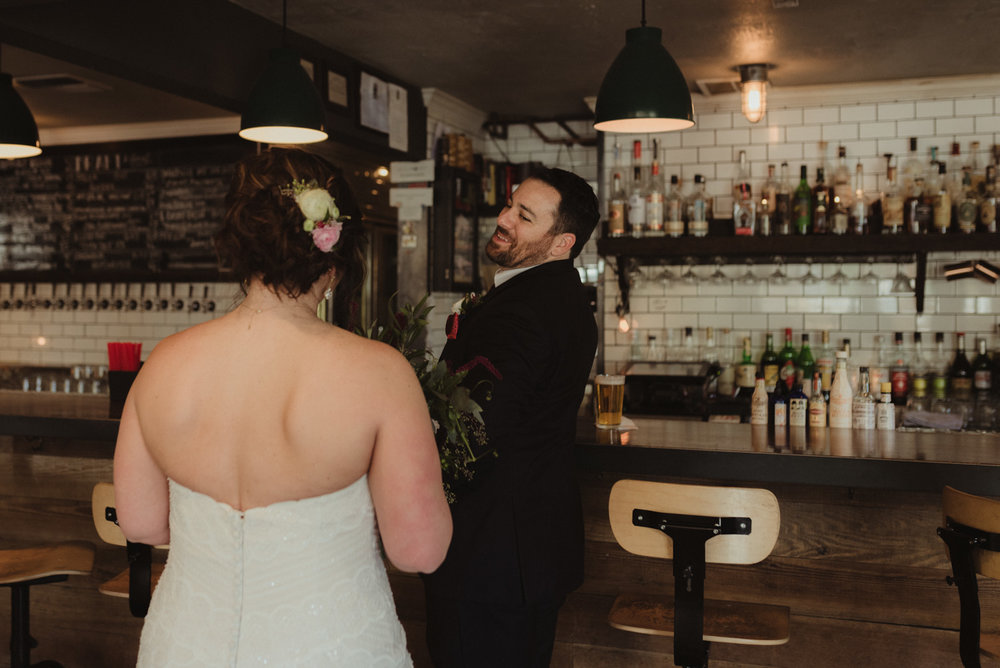 wedding photo at a bar in reno