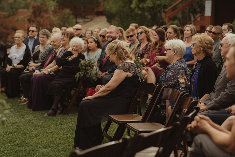 tannenbaum wedding venue guests laughing during the ceremony photo