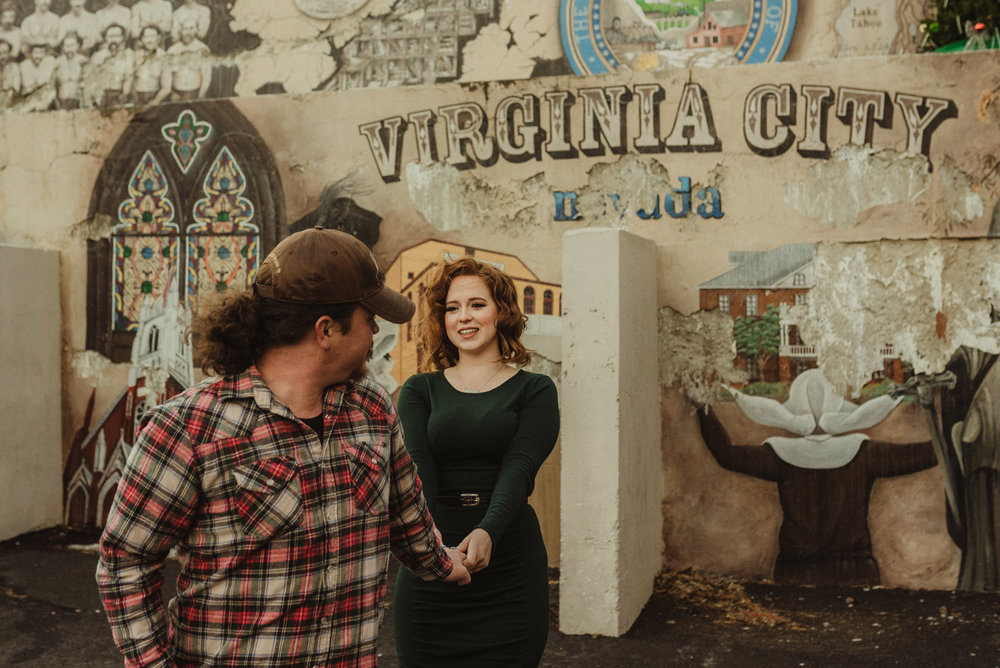 Virginia City Engagement session, couple playing around photo