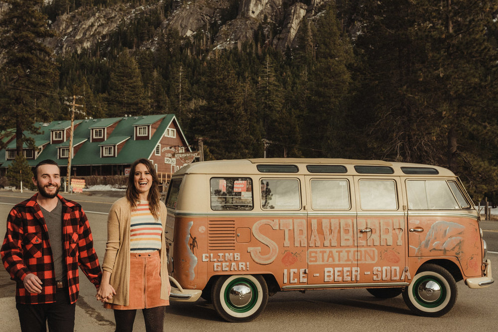 Strawberry California engagement session, couple waling by an old VW bus