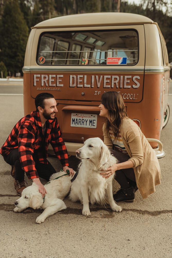 Strawberry California engagement session, couple sitting by an old VW bus
