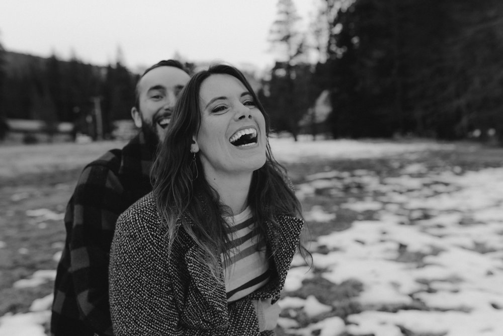 Strawberry California engagement session, couple laughing in the meadows photo