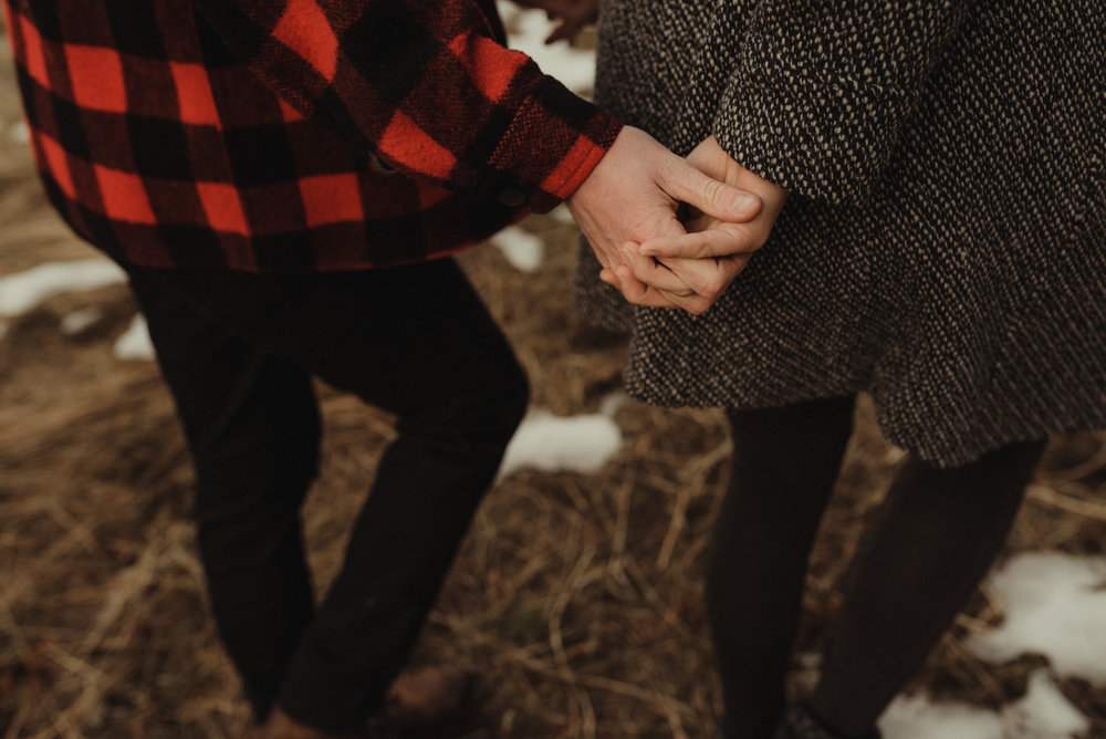 Strawberry California engagement session, couple holding hands in the meadows photo