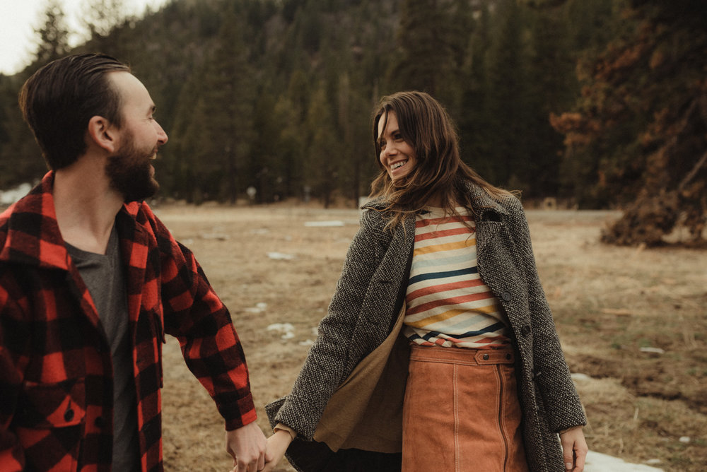 Strawberry California engagement session, candid photo of couple walking