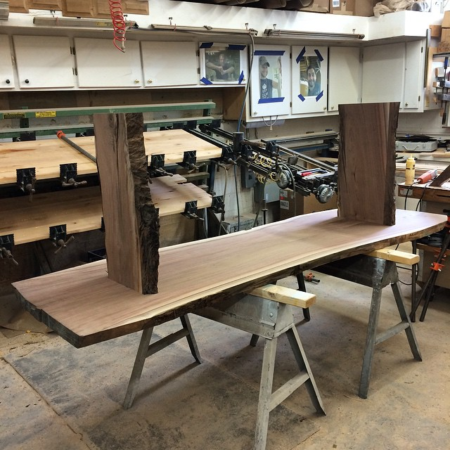 The beginnings of a walnut dining room table.