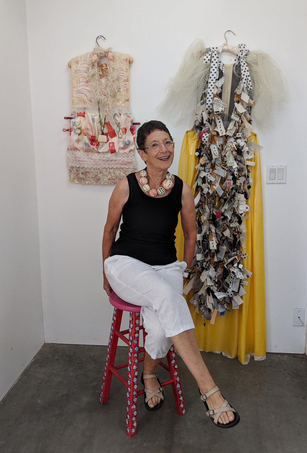 In my Tucson studio with some of my textile art pieces.