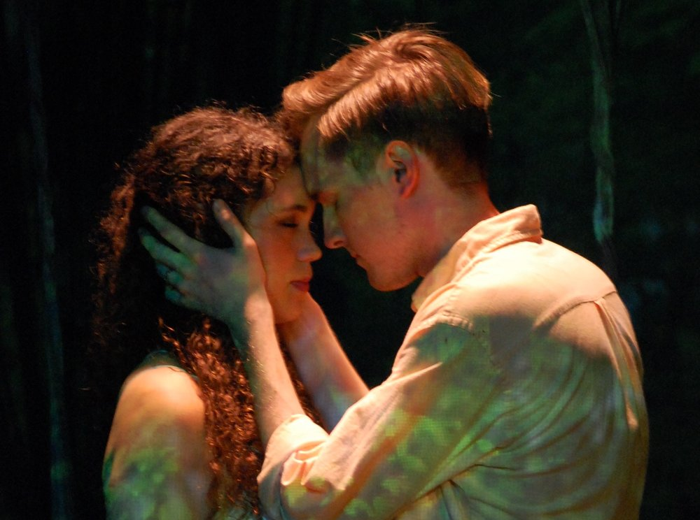 Orpheus places a poem in Eurydice's mind - Allyce Torres and Zachery Alexander in DON'T LOOK (photo by Laura Nash).jpg