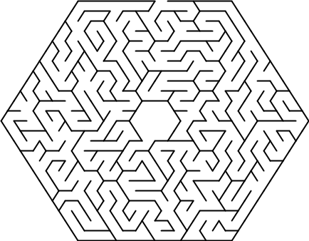 Hexagonal delta maze with 12 cells side.png