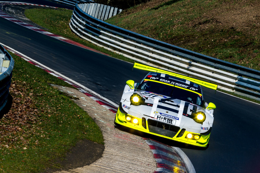 Full-fledged works package GT3 R getting in some of those required VLN hours before the 24 Hours of Nurburgring. Cars take a serious beating on the high kerbing on the Nordschleife.