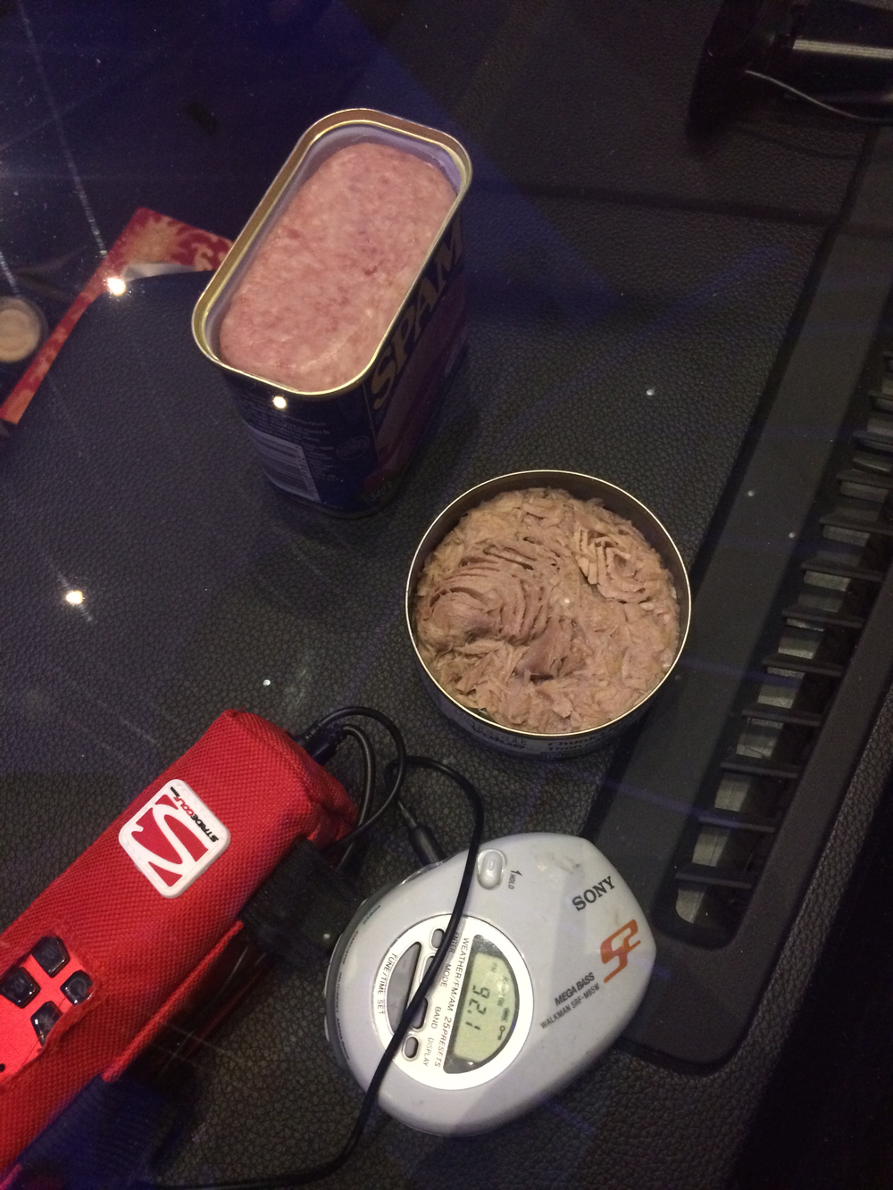 The opened can o' Spam, tuna, and the radio.