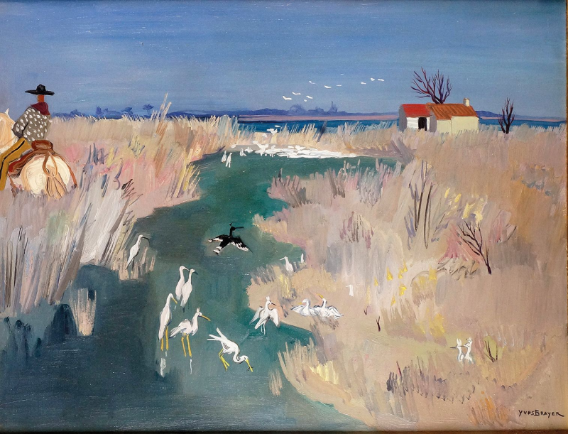 Birds in the Pond , Camargue - Yves Brayer French, 1907-1990