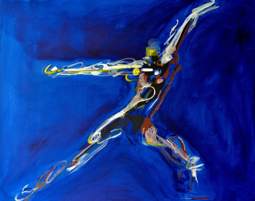 This piece is two paintings of lyrical abstract shapes and colors representing the highlights of the physical gestures of a male and female modern dancer