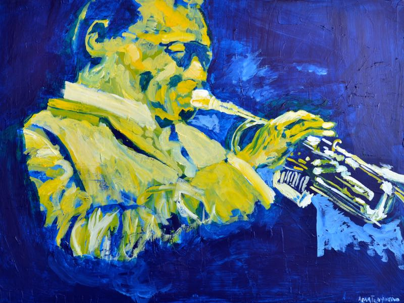 """Miles Davis"" (30"" x 40"") used a blue background with yellow, white and orange to highlight the contours"