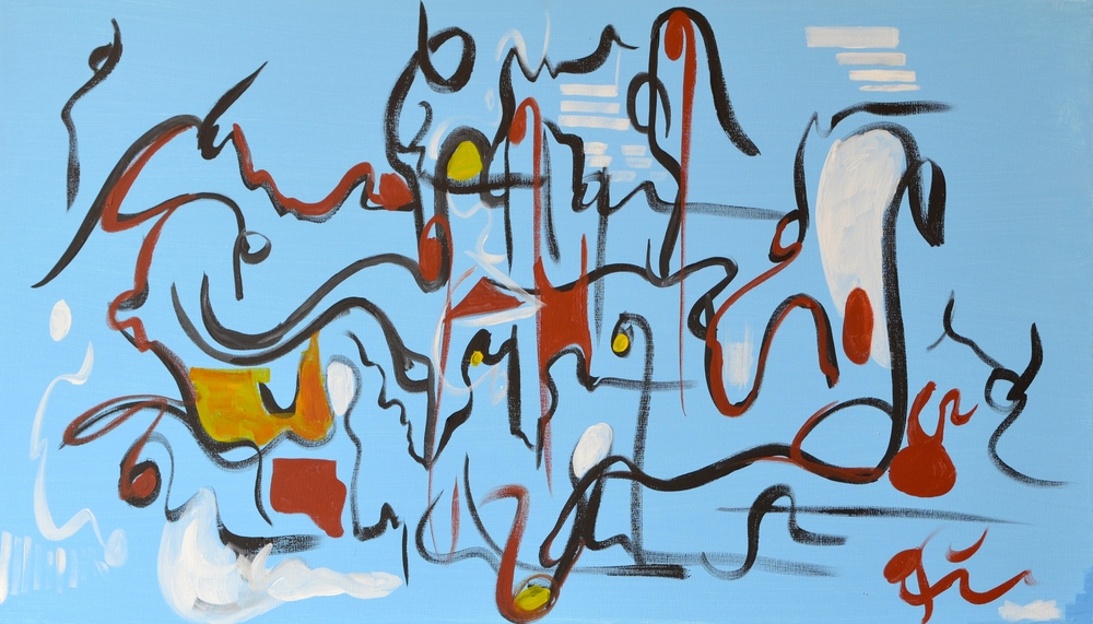 "I drew from the shapes and colors in ""Calypso"" (20""x30"") to create the abstract representations in ""Connected"""