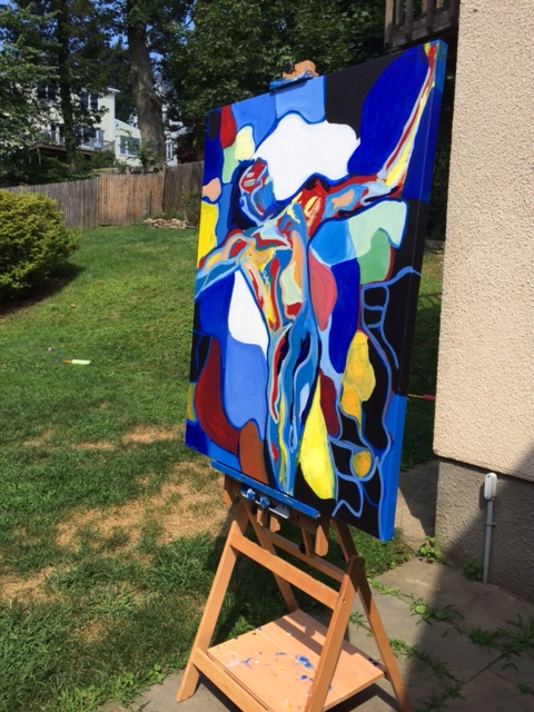 "The finished painting outside on the easel.  It stands 50"" tall and 40"" wide and has a 1 and 1/2"" gallery-style edge."