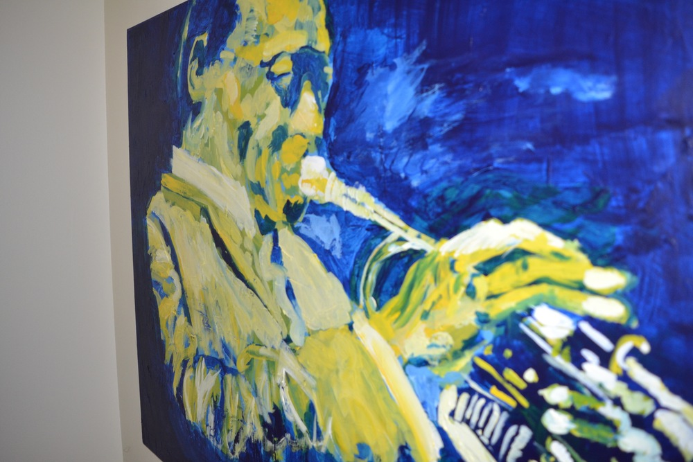 """a 30"""" x 40"""" portrait of Miles Davis -- Jazz improvisors seem to express the human capacity for fluidity and adaptability -- improvisors teach us that responsiveness to challenge can be artful"""